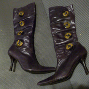 purple Leather Boot Accent Buttons